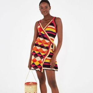 Farm Rio Cotton Crochet Geometric Wrap Dress